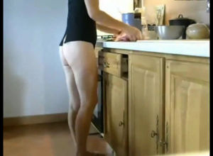 Long legged mature mommy cooking with..