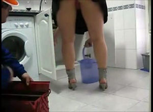 Mature doll tempts a plumber and films..