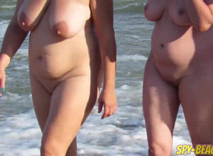 Mature couples on the bare beach from..