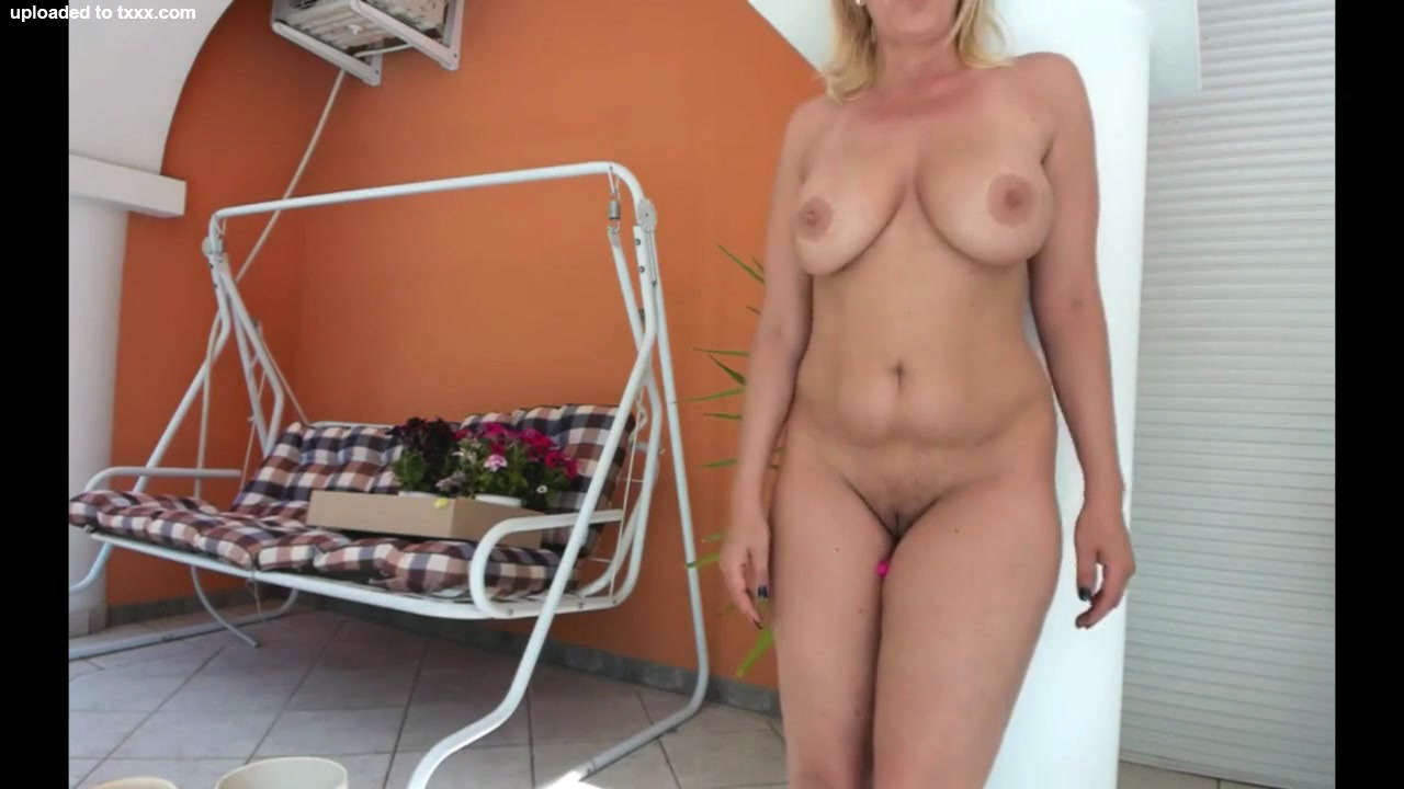 Downright bare round mature chick with..