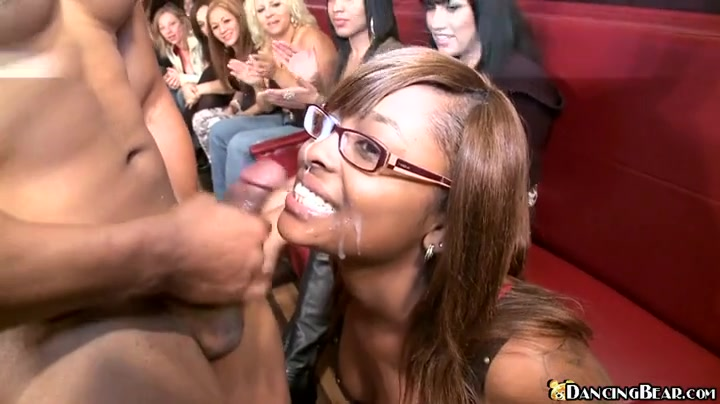 Ebony hotty gets facial cumshot at..